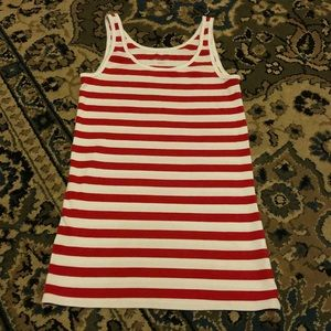 Merona Red and White Striped Scoop Neck Tank Top L